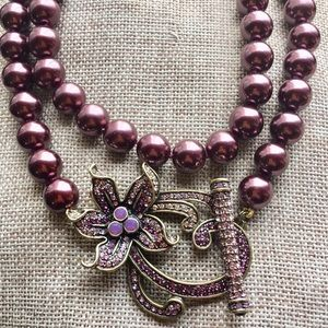 Gorgeous Heidi Daus Floral Crystal Pearl Necklace